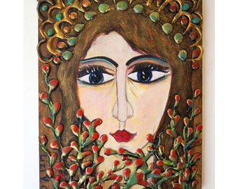 Rustic European Folk Art Angel Icon on Wood Original Modern Religious Handpainted OOAK ANGEL Metallic Art by Luiza Vizoli 2007