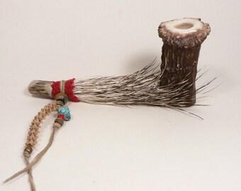 Hand Made Deer Antler Pipe / Javalina Hide  / Rattlesnake Vertebra / Turquoise