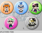 "Splatoon Inkling Girl Boy Squid Sisters Judd Pixel Art 1.5"" Pin Button or Magnet"
