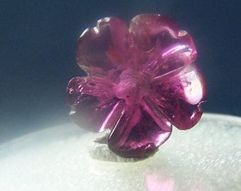 Tourmaline flower - Rubellite red pink crystal genuine natural - hand carved sculpture gemstone - gem carving slice stone coyoterainbow T86R