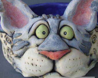 Gray Tiger Cat Sculpture and Pet Bowl or Dish