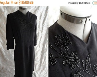"""ON SALE 30s 40s Dress //  Vintage 30's 40's Black Rayon Crepe Dress with Beading Size L 32"""" waist side and back metal zippers"""