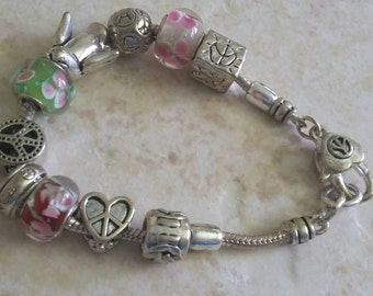 Peace Sign Charm Bracelet Many Signs of Peace Dove Bracelet Charm Bracelet