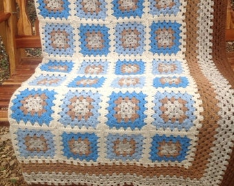Bluebird Time Granny Square Afghan FREE SHIPPING