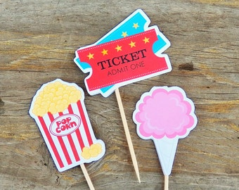 Big Top Circus Party - Set of 12 Assorted Circus Treats Cupcake Toppers by The Birthday House