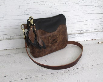Small Distressed Brown & Black Leather Cross Body Purse, Shoulder Bag, Travel Bag, Messenger Bag