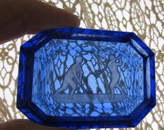 Antique Ccbalt Blue Glass Salt Dip with Golfers Vintage Salt Cellar Golf Intaglio Cut Design