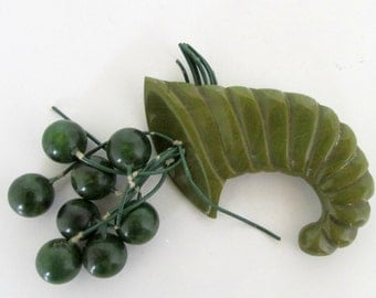 Vintage Carved Cornucopia Bakelite Green Brooch with Green Balls Green Bakelite Large Brooch Pin