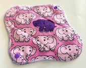 8 Inch Winged Reversible Cloth Liner - Pink Elephants Knit Print and Microfleece