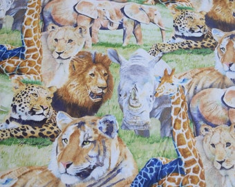 1 Yard Large Jungle Print by Kara Collections Cotton Fabric