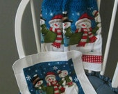 2 Crocheted Christmas Hanging Kitchen Towels with Dishcloth - Charming Snowmen