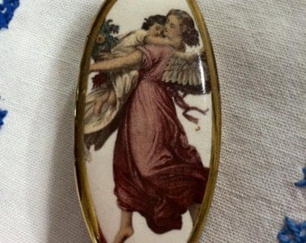 Vintage Porcelain Brooch oval Hand Painted porcelain Brooch pin