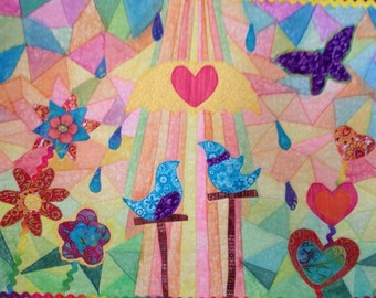 Art Quilt, Love birds, Stainglass Art, Wall Quilt, Whimsical Art Quilt, Modern Quilt, Scappy Quilt, Applique Quilt, Painted Textile