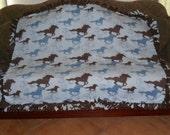 Brown Blue Horses on Light Blue Dark Brown Back Fleece Tie Blanket No Sew Fleece Blanket Horse Illustrations 48x60 Approximate size