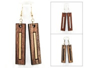 Modern Wood Dangle Earrings - Laser Cut Elongated Rectangle w/ Inset (Rosewood, Padauk, Bocote) Gifts for Her