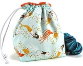 Knitting Crochet Project Bag *with yarn guide* - Underwater Sisters