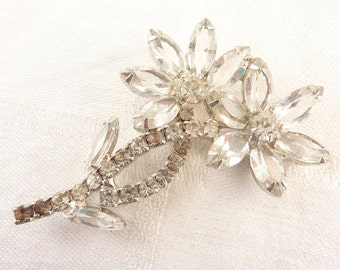 Vintage Open Back Clear Marquise Rhinestone Flowers Silver Tone Brooch