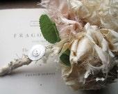 Fabric Wedding Bouquet Set of 3, Vintage Fabric Corsage * Fabric Boutonnière * OOAK Bridal Ideas *Blush and Cream Fabric * Bridal Bouquets *