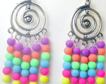 Neon rubber beads chandelier earrings, multi colors of neon beads, hippie earrings, bright colors, silicon beads, holiday earrings, bohemian