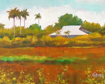 River of Grass II, 8x6 Original Oil Painting on Canvas Panel, Landscape of Everglades