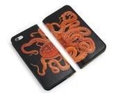 Leather iPhone 6 case, iPhone 6s Case, iPhone 6s Plus Case - Octopus