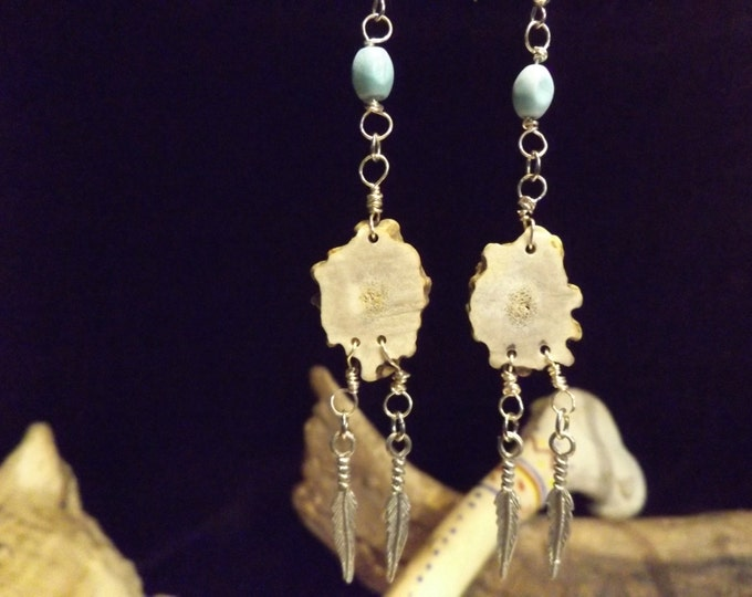 Turquoise and Antler Healing Earrings, Healing Crystal and Gemstone Jewelry, Native American inspiered Jewelry,Spiritual Jewelry