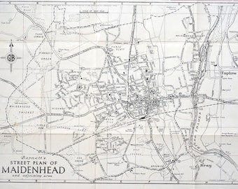 Vintage Black-and-White Map of Maidenhead, UK
