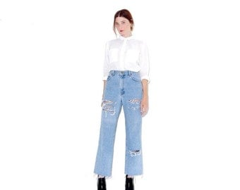 HURRY HALF OFF 90s light wash Dkny Jeans / high waisted jeans mom jeans boyfriend jeans ripped jeans distressed jeans cropped jeans