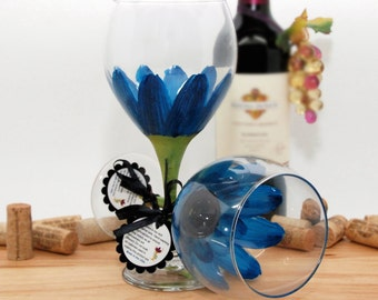 Hand painted wine glass, painted wine glass, flower wine glass, cerulean blue,  blue wedding, daisy, wine goblet, unique wine glass, flower