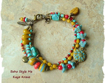 Sundance Style Turquoise and Red Coral Bangle Bracelet, Boho Southwest, Colorful Desert Flowers, BohoStyleMe, Kaye Kraus