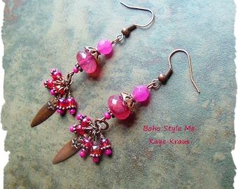Boho Gypsy Earrings, Colorful Bright Pink Earrings, Bohemian Dangle Earrings, BohoStyleMe, Kaye Kraus