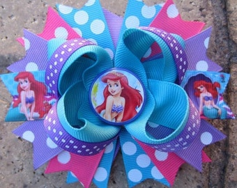 Ariel the Little Mermaid Inspired Custom Boutique Hair Bow for Disney Vacation-choose from a 5 inch hair bow or 2 pigtail bows