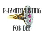 PAYMENT LISTING 2 of 3 for Deb-Victorian style cluster ring Diamond Ruby 9ct/9k Marquise Navette Vintage Estate Engagement -Dinner ring