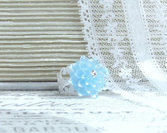 Blue Flower Ring Adjustable Ring Blue Floral Ring Iridescent Ring Flower Cabochon Ring Light Blue Ring