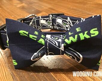 Seahawks Dog Bowtie Set -  Seahawks Dog Bow Tie and Collar Set - Seahawks - Cat Collar Bowtie Set - Seahawks Dog Collar Bow - Dog Bowtie