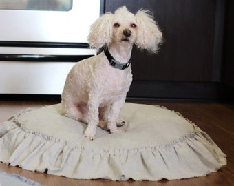 lily....dog bed..frayed ruffle, 100% linen, dog bed insert, linen dog bed, linen dog bed cover
