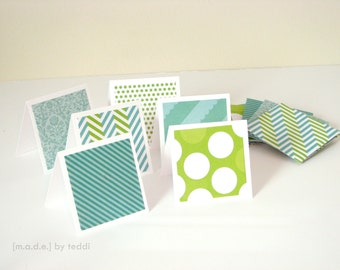 Mini Note Card Set (12 cards) - Green/Teal