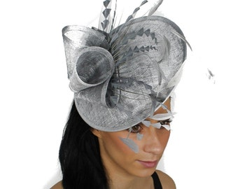 Metalic Silver Galina Fascinator Hat for Weddings, Races, and Special Events With Headband
