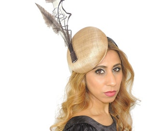 Mink Brown Fascinator Hat for Kentucky Derby, Ascot, Melbourne Cup **Sample Sale