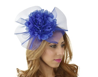 Royal Blue Dhigaaru Fascinator Hat for Kentucky Derby,Melbourne Cup, Ascot