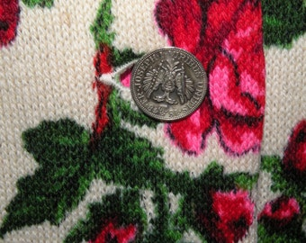 German Red Rose Sweater with Coin Buttons M to L