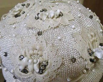 1950s Embellished Wedding Hat