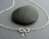 """tiny silver bow necklace. very petite sterling silver ribbon pendant bowtie small mini simple delicate dainty forget me knot charm gift 3/8"""""""