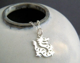 sterling silver dragon necklace. small Chinese zodiac symbol Shengxiao sheng xiao tiny spirit animal sign pendant. simple charm jewelry gift