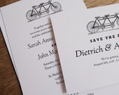 Printable Wedding Invitation & Save the Date Template - Tandem Bicycle - Instant Download - Black and White nvite and Save the Date PDFs