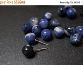 FALL DEALS Rare Natural Genuine Untreated AA Grade Half Drilled Royal Blue Sodalite From Brazil Round Beads for Earrings or Pendants - 8mm -