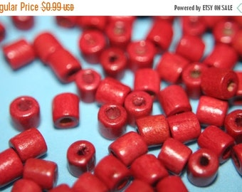 SUMMER SALE CLOSEOUT Sale - Blood Red Wood Tube Beads - 5mm - 100 pcs