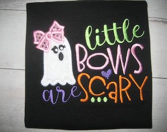 Fall Halloween Ghost Iittle bows are scary short sleeve Black shirt