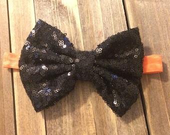 Black Sequin bow - Halloween-