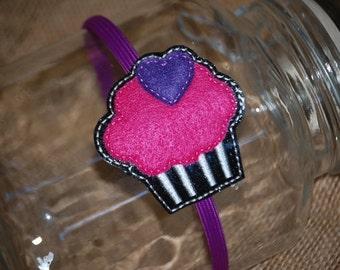 Cupcake with big heart Embroidered Vinyl Headband Slider